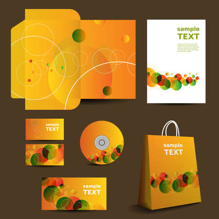 Stationery Template, Corporate Image Design with Vivid Colors Vector