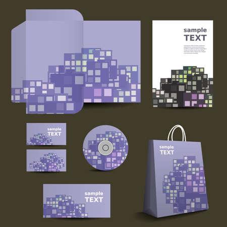 imagen corporativa: Papeler�a plantilla, dise�o de imagen corporativa con colorido de los cuadrados