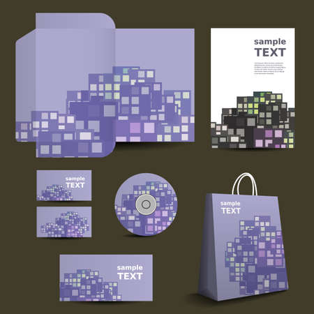 Stationery Template, Corporate Image Design with Colorful Squares Vector