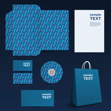 Stationery Template, Corporate Image Design with Abstract Pattern Vector
