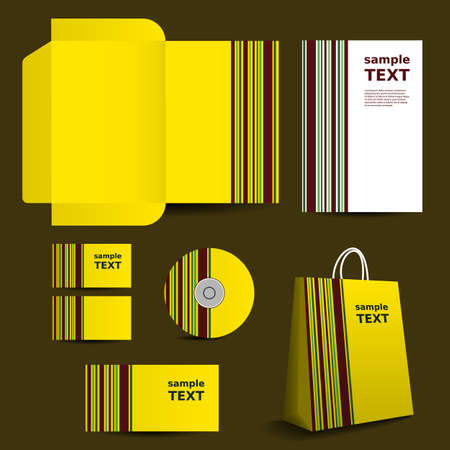 Stationery Template, Corporate Image Design with Stripes Vector