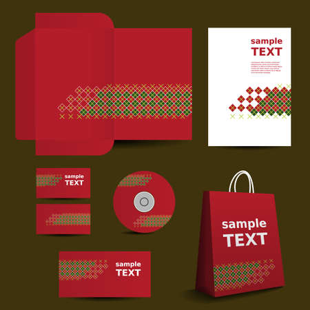 Stationery Template, Corporate Image Design with Colorful Pattern Vector