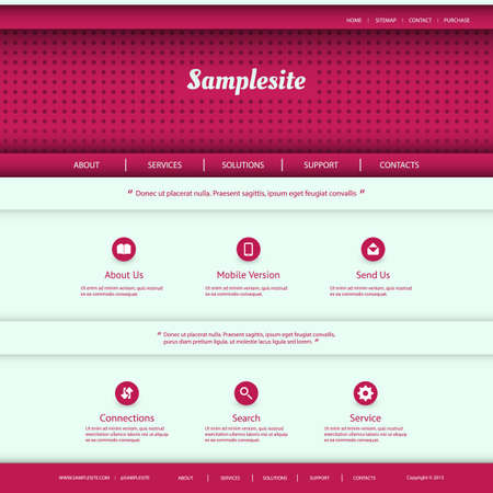Website Template Design - Purple Colors Vector