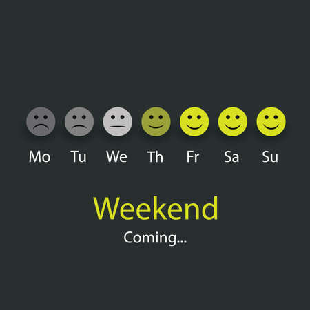 Weekends Coming - Design Concept with Smiling Faces Vector