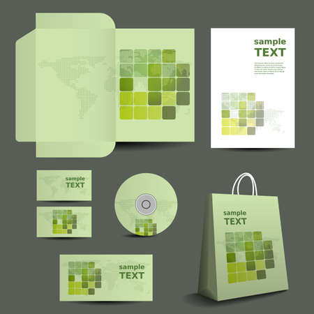 Stationery Template, Corporate Image Design with World Map Mosaic Vector