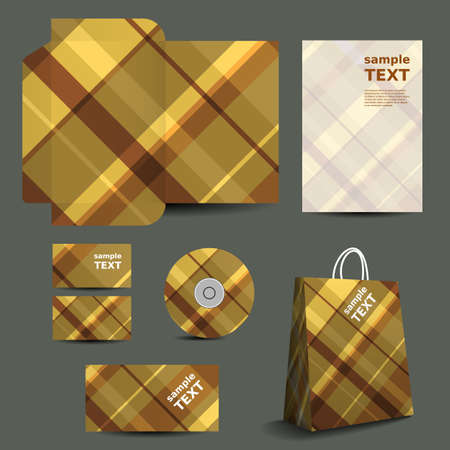 Stationery Template, Corporate Image Design with Striped Pattern Vector