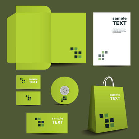 Stationery Template, Corporate Image Design with Mosaics Illustration