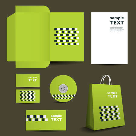 Stationery Template, Corporate Image Design with Squares Vector