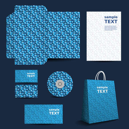 die cut: Stationery Template, Corporate Image Design with Dotted Pattern