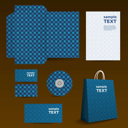 Stationery Template, Corporate Image Design with Checkered Pattern Vector