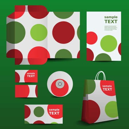 Stationery Template, Corporate Image Design with Colorful Circles Vector