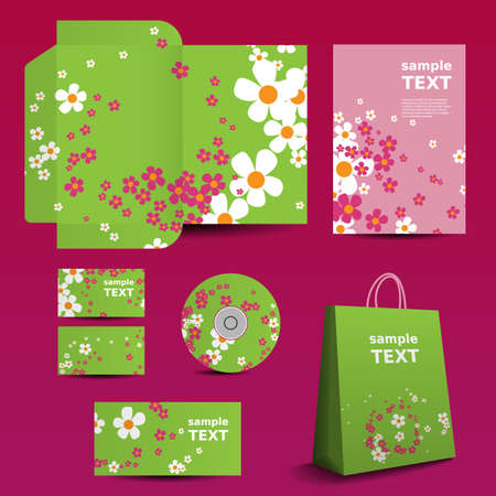 Stationery Template, Corporate Image Design with Flowers Pattern Vector