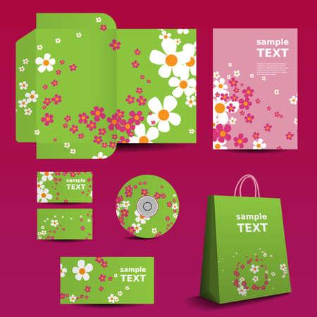 imagen corporativa: Stationery Template, Dise�o de Imagen Corporativa con el patr�n de flores