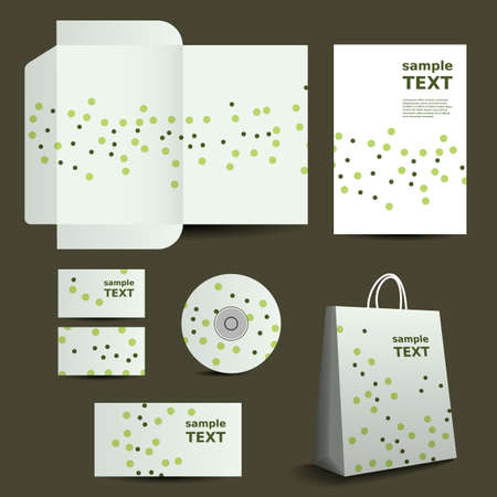 die cut: Stationery Template, Corporate Image Design with Small Dots Illustration