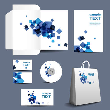 Stationery Template, Corporate Image Design with Abstract Blue Squares Illustration