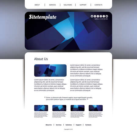 Website Template Design with Blue Abstract Header Vector