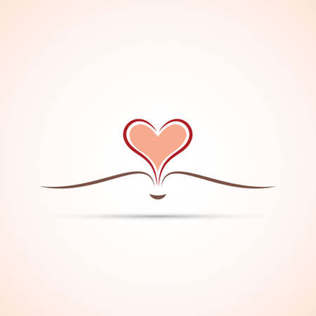 Book Icon With Open Pages - Heart Symbol Design