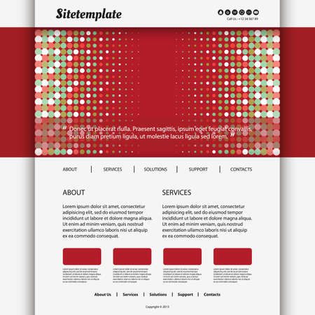 Website Template Design with Dotted Header Stock Vector - 26018027