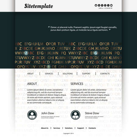 Website Template Design with Letters Background  Vector