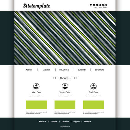 Website Template with Striped Header  Vector