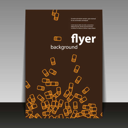 Flyer or Cover Design with Mobile Phone Pattern