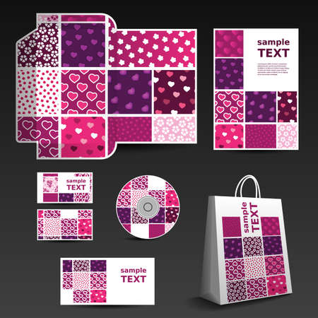 Stationery Template, Corporate Image Design with Hearts and Floral Pattern Vector