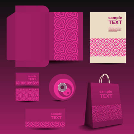 Stationery Template, Corporate Image Design with Circles Vector