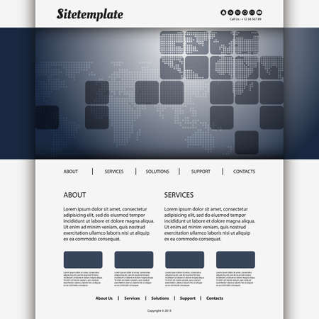 original circular abstract: Website Design with Squares and Mosaic World Map Illustration