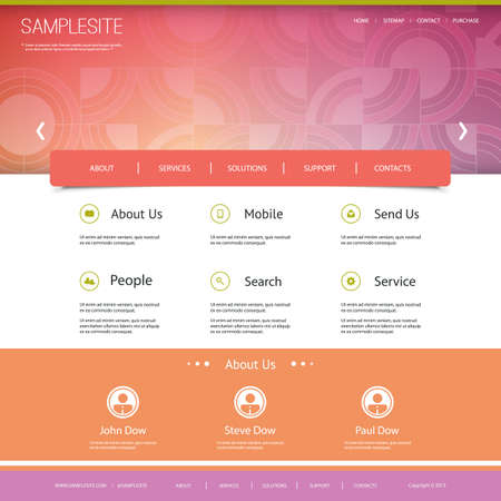 Website Template with Rings Mosaic Header Design Vector