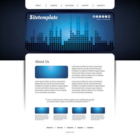 Website Template with Blue Checkered Header Design Vector