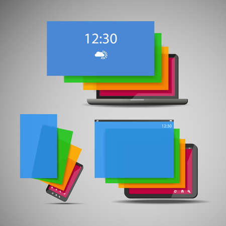 Laptop, Smart Phone and Tablet Icons with Colorful Layers Vector