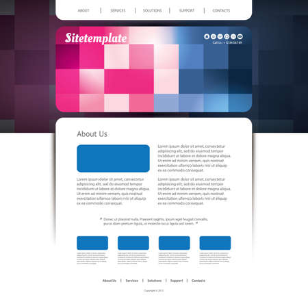 Website Design with Colorful Checkered Pattern Vector