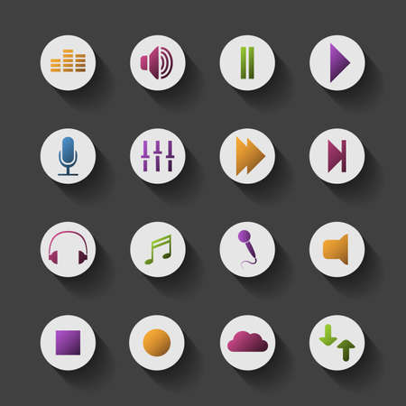 Icon Set with Shadows - Colorful Design for Media Content Vector
