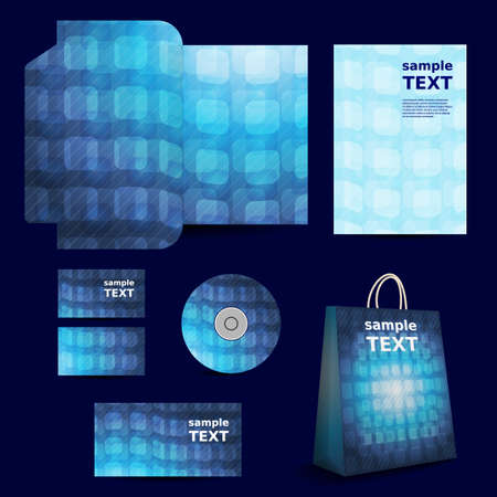 Stationery Template, Corporate Image Design with 3D Squares Background Vector