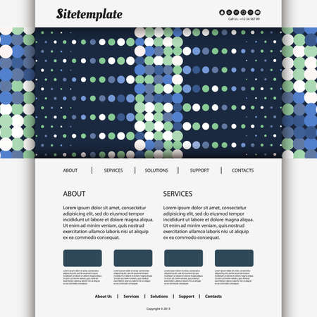 Website Template with Dotted Blue Header Design Vector