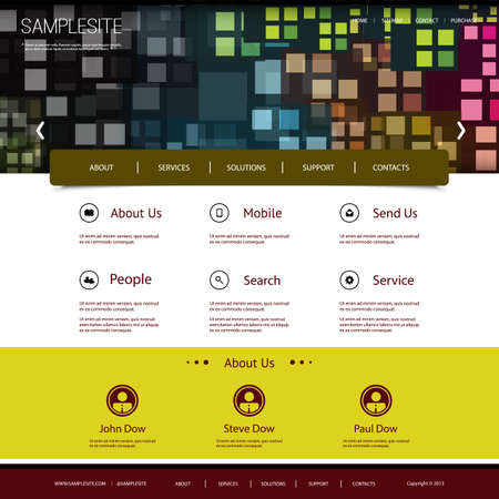 Website Design with Colorful Mosaic Pattern Vector