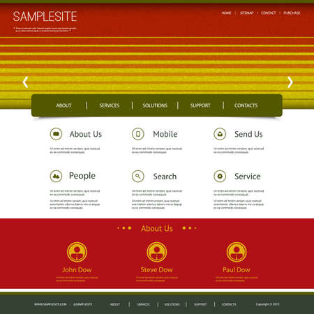Website Template with Striped Header Design Stock Vector - 27142159