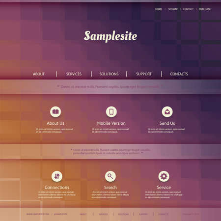 Website Template with Colorful Checkered  Vector