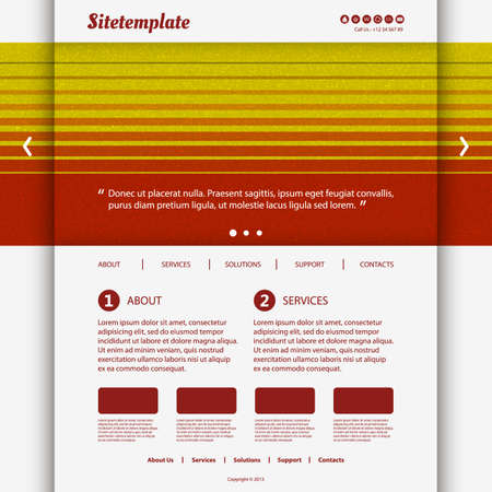 Website Template with Colorful Striped Header Design Vector
