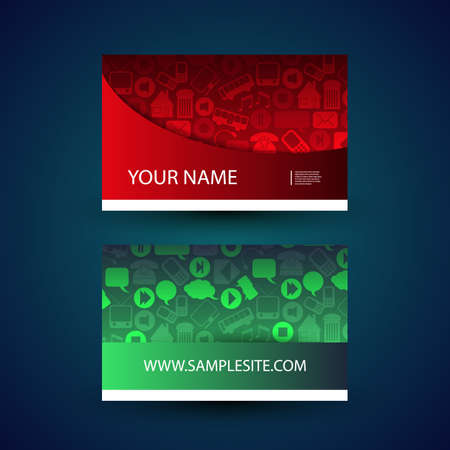 Business Card with Icons Pattern Vector