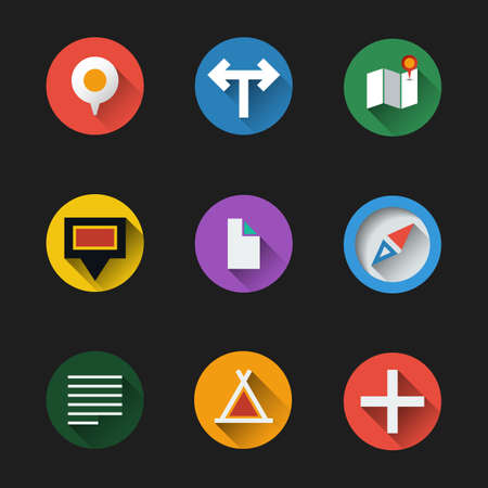 Flat UI Design - Colorful Map Icon Set Vector