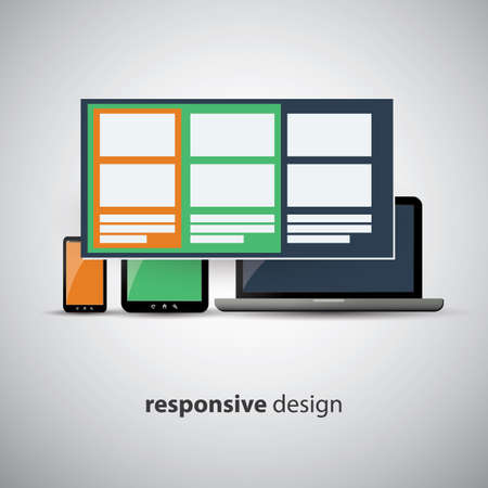 Responsive Web Design Concept - Same Website, Different Sizes Vector