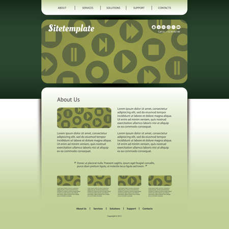 Website Design with Media Player Control Icons Pattern Vector