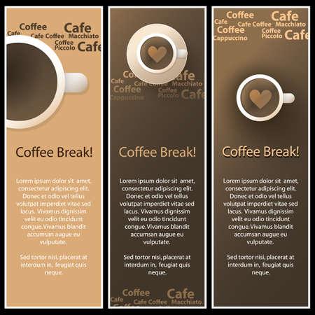 Set of 3 Coffee Shop Banner or Menu Template Designs Vector