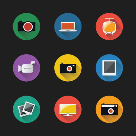 Flat UI Design - Colorful Icon Set of Electronic Devices Vector