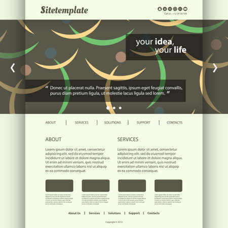 Website Template with Abstract Figures Silhouettes Vector