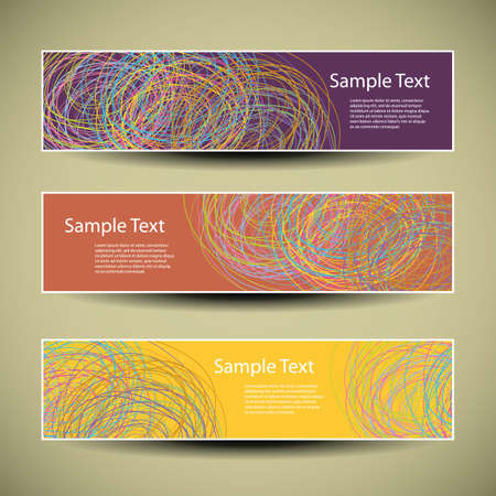 colored paper: Banner or Headers Design with Colorful Doodlings Pattern Illustration
