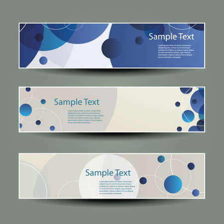 Banner or Header Designs with Blue Circles Vector