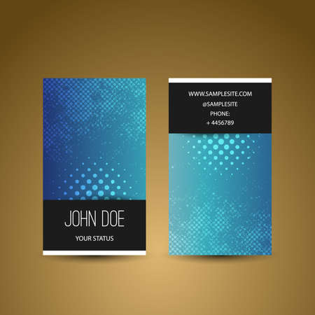 Business Card Template with Grungy Blue Background Vector