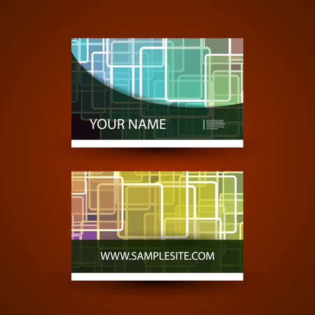 Business Card Template with Colorful Abstract Pattern Vector